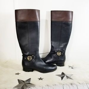 NEW Michael Kors Harland riding boots black brown